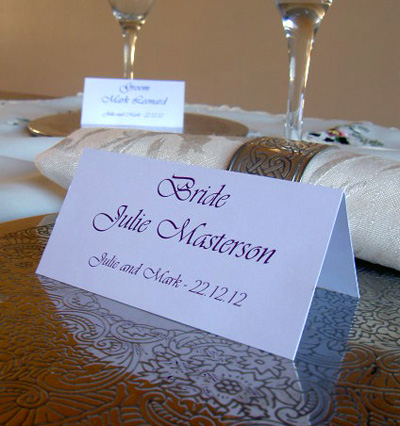 Personalised wedding place cards escort cards pa 2466 for Table place cards