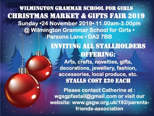 Christmas Gifts For Parents 2019.2019 Wilmington Christmas Market And Gift Fair The Parents Friends Association Of Wilmington Grammar School For Girls Ref 49059 Stall Craft