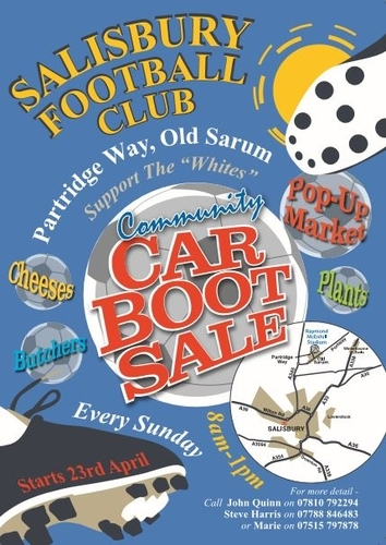 Salisbury Football Club Community Car Boot Sale From Sunday 23rd April 2017