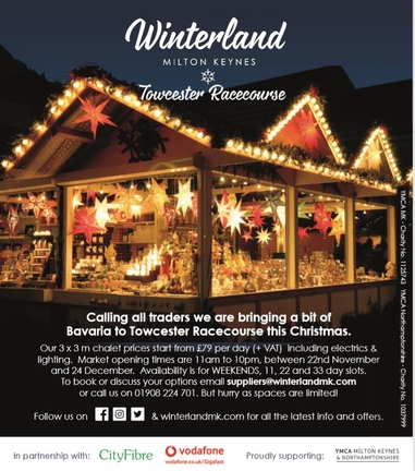 Winterland Towcester Racecourse 22 Nov-5 Jan 20 - Craft fair, Bavarian Market, Fun Fair, Food & Drink & Live Music !!